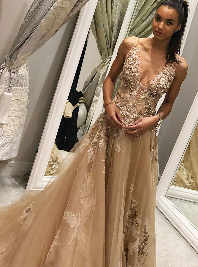 A-Line V-Neck Champagne Tulle Prom Dress with Beading Appliques