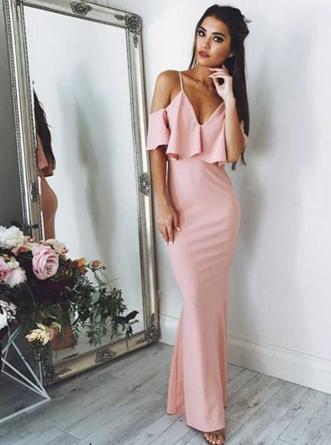 Sheath V-Neck Cold Shoulder Pink Elastic Satin Prom Dress with Ruffles