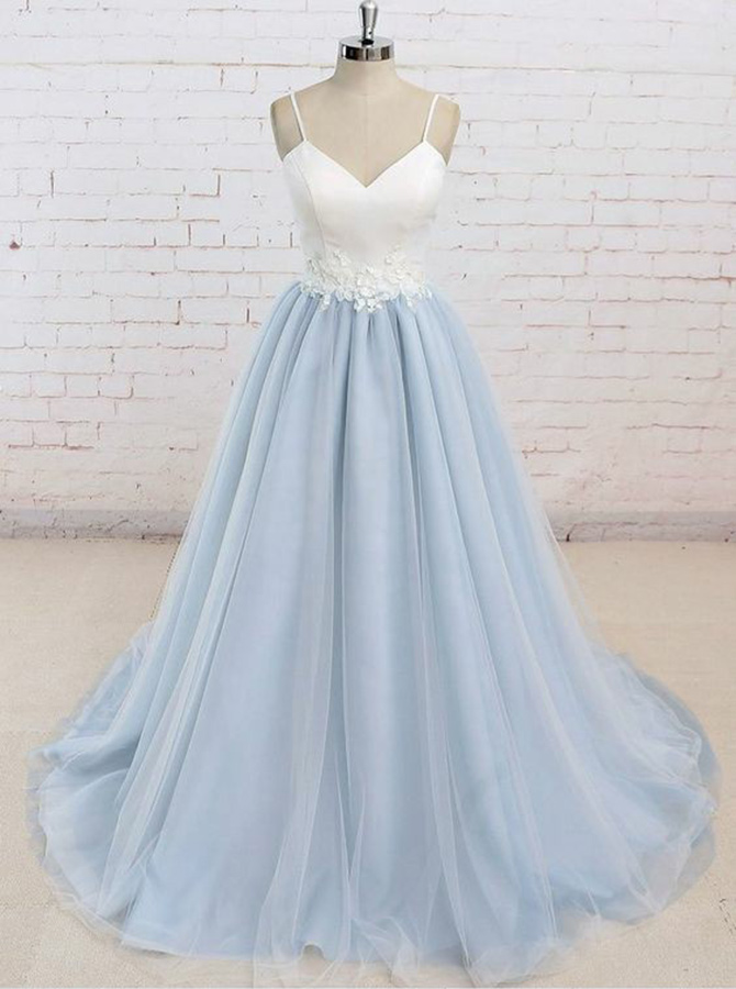 A-Line Spaghetti Straps Light Blue Tulle Prom Dress with Appliques фото