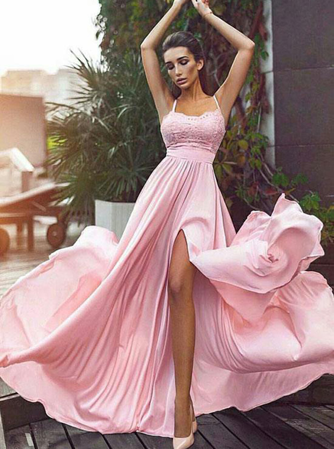 A-Line Spaghetti Straps Pink Elastic Satin Prom Dress with Lace Split