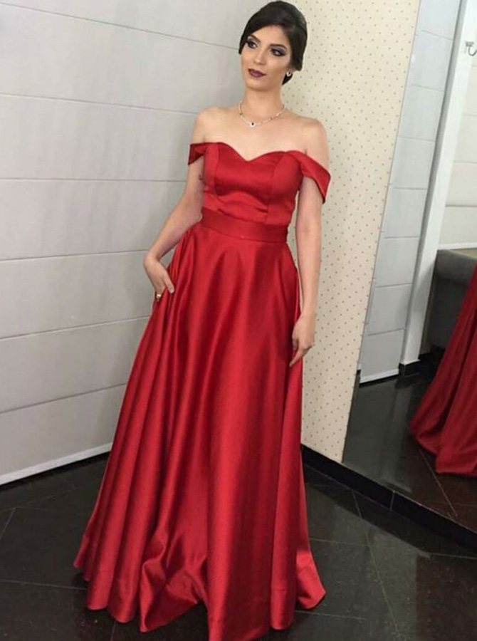 A-Line Off-the-Shoulder Red Satin Prom Dress with Pockets