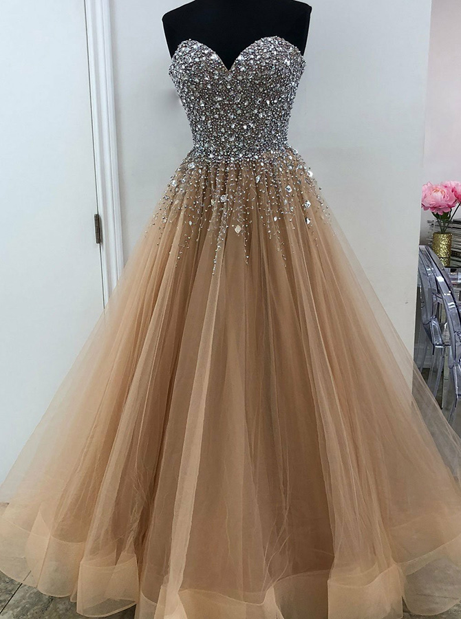 A-Line Sweetheart Champange Tulle Prom Dress with Beading фото
