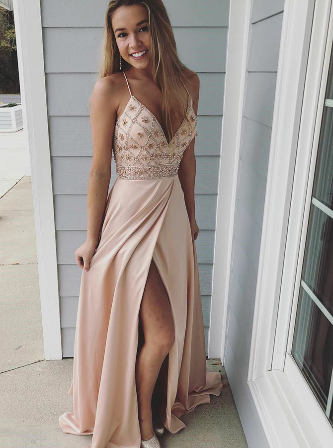 A-Line Spaghetti Straps Pink Elastic Satin Prom Dress with Beading фото