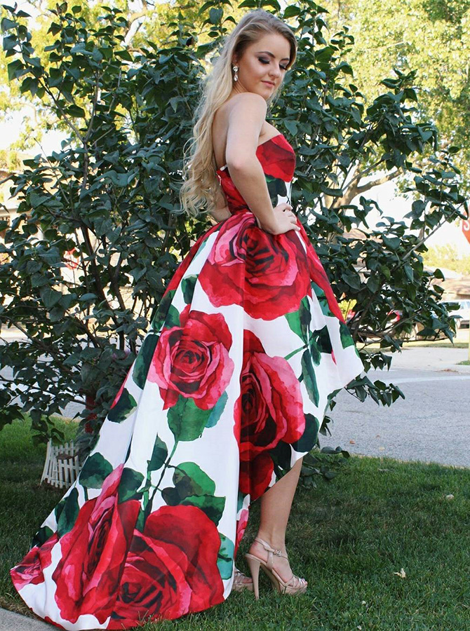 A-Line Strapless High Low White Floral Satin Prom Dress фото