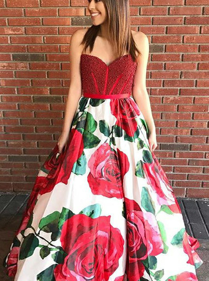 A-Line Sweetheart Red Floral Satin Prom Dress with Beading фото