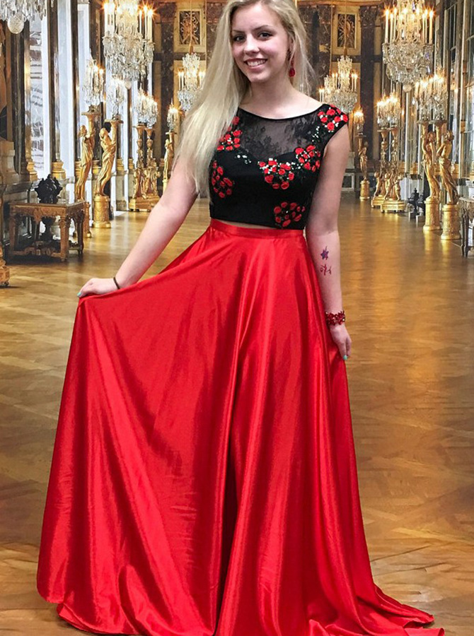 Two Piece Round Neck Red Elastic Satin Prom Dress with Lace Appliques фото