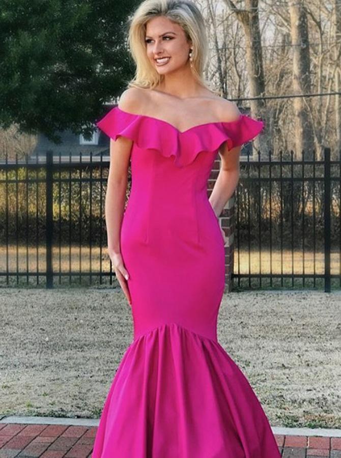 2b1790892c43 4) Mermaid Off-the-Shoulder Fuchsia Elastic Satin Prom Dress with Ruffles