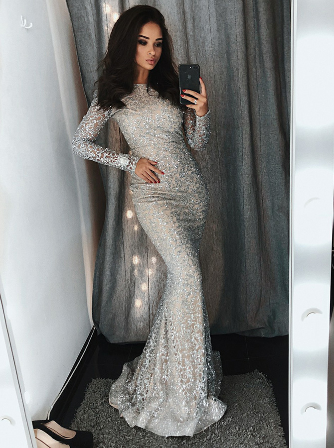 Mermaid Bateau Silver Lace Evening Prom Dress with Sequins фото