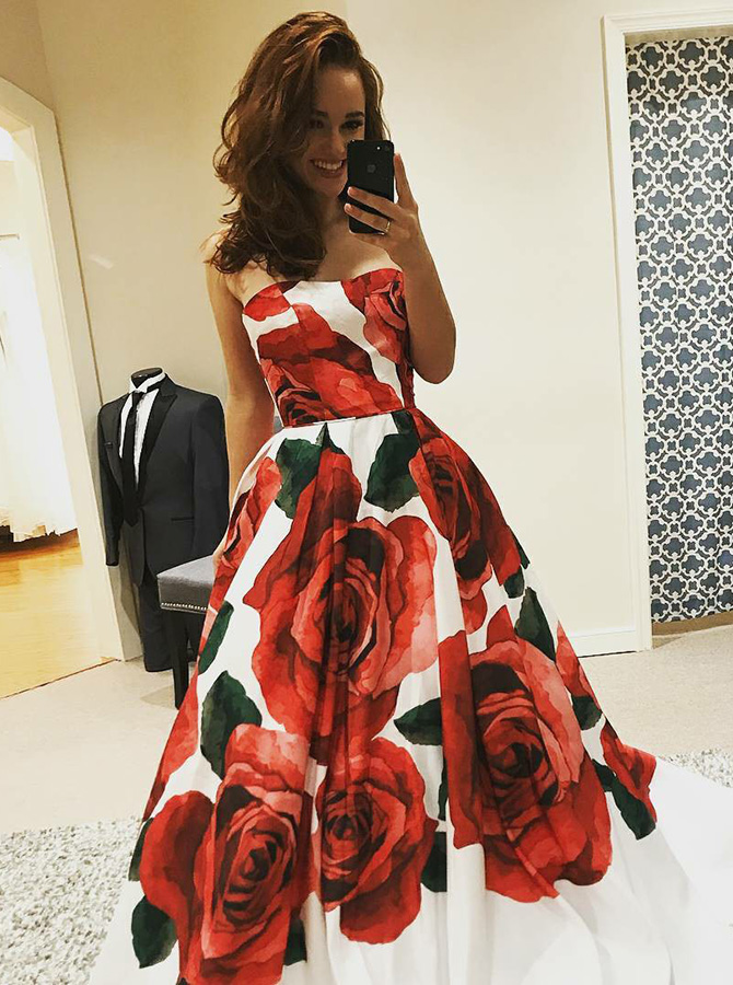 A-Line Strapless Sweep Train Red Floral Satin Prom Dress фото
