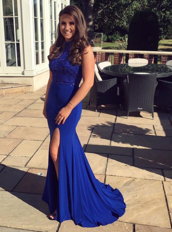 Mermaid Round Neck Royal Blue Spandex Prom Dress with Beading Split