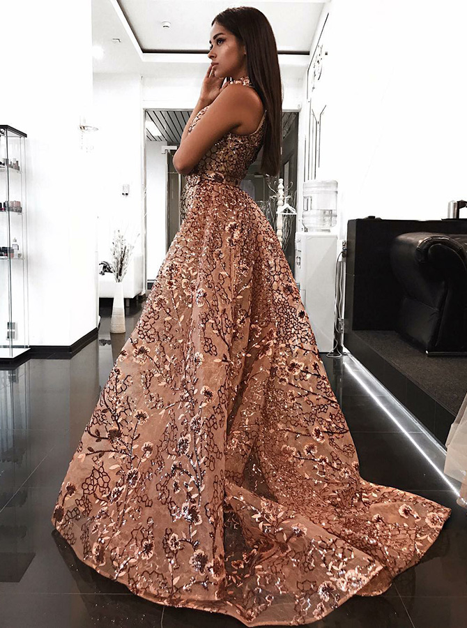 A-Line High Neck Sweep Train Champagne Lace Prom Dress with Sequins фото