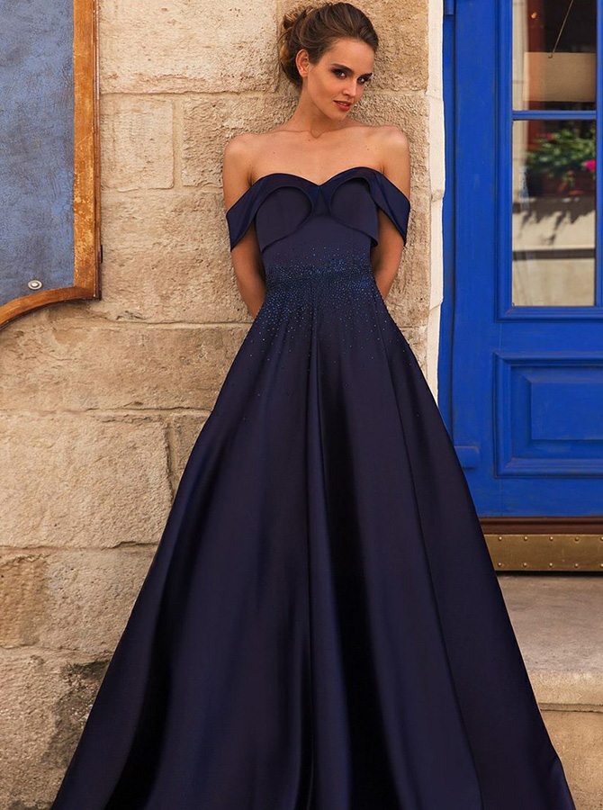 Simple-dress / A-Line Off-the-Shoulder Pleated Navy Blue Satin Prom Dress with Beading