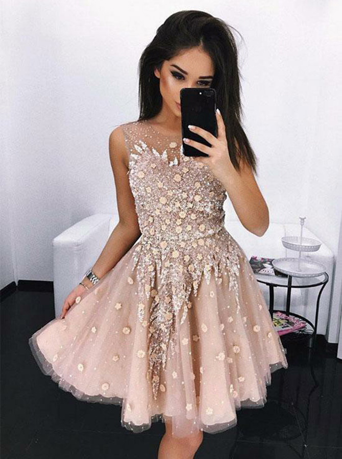 A-Line Round Neck Above Knee Pink Lace Prom Dress with Sequins фото