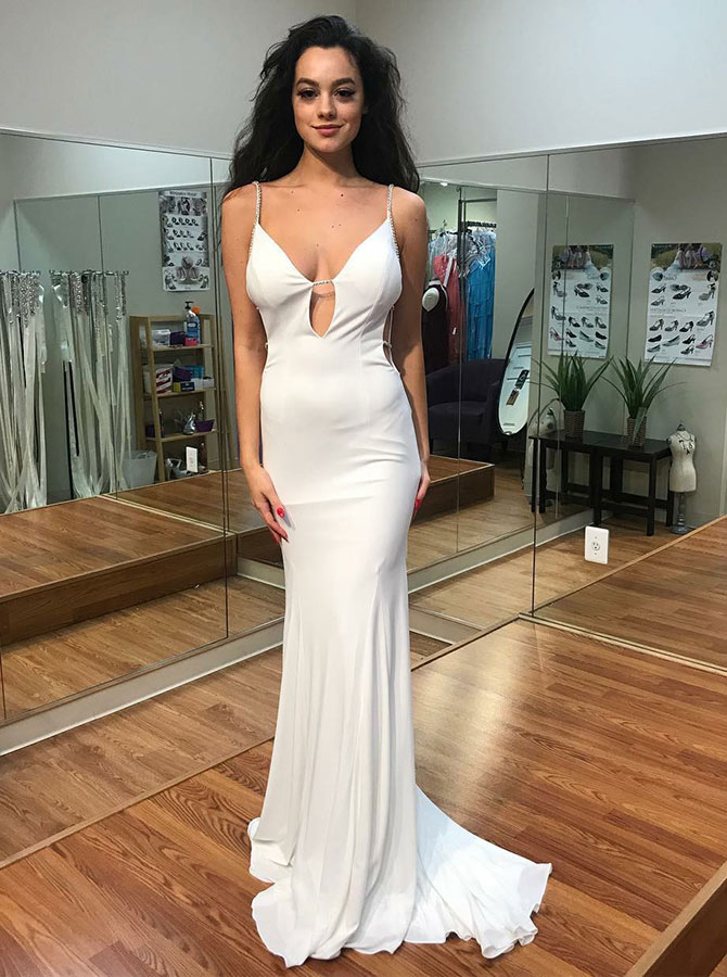 Mermaid Spaghetti Straps Cut out White Chiffon Prom Dress