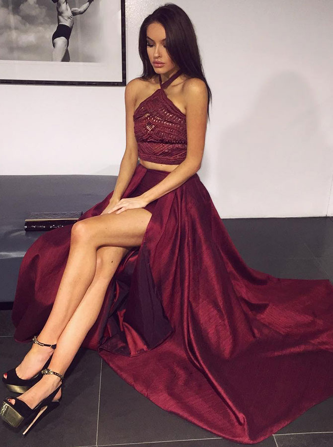 Two Piece Halter Dark Red Elastic Satin Prom Dress with Lace Split фото