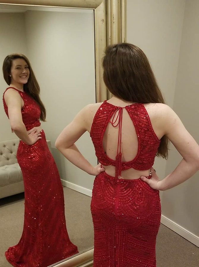 Mermaid Round Neck Open Back Red Elastic Satin Prom Dress with Beading