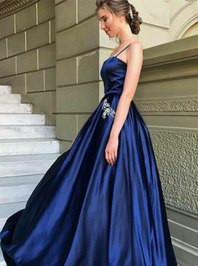 A-Line Spaghetti Straps Navy Blue Satin Prom Dress with Pockets Beading фото