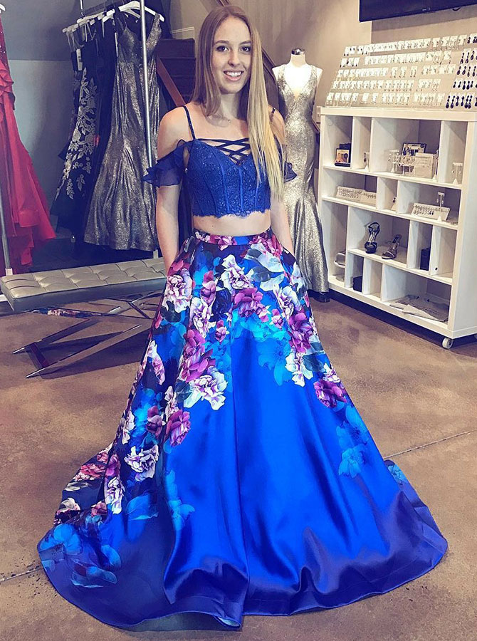 Two Piece Cold Shoulder Floral Blue Satin Prom Dress with Beading фото