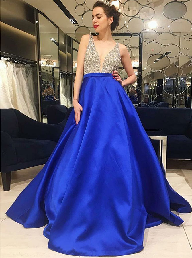 A-Line V-Neck Low Cut Royal Blue Satin Prom Dress with Beading фото