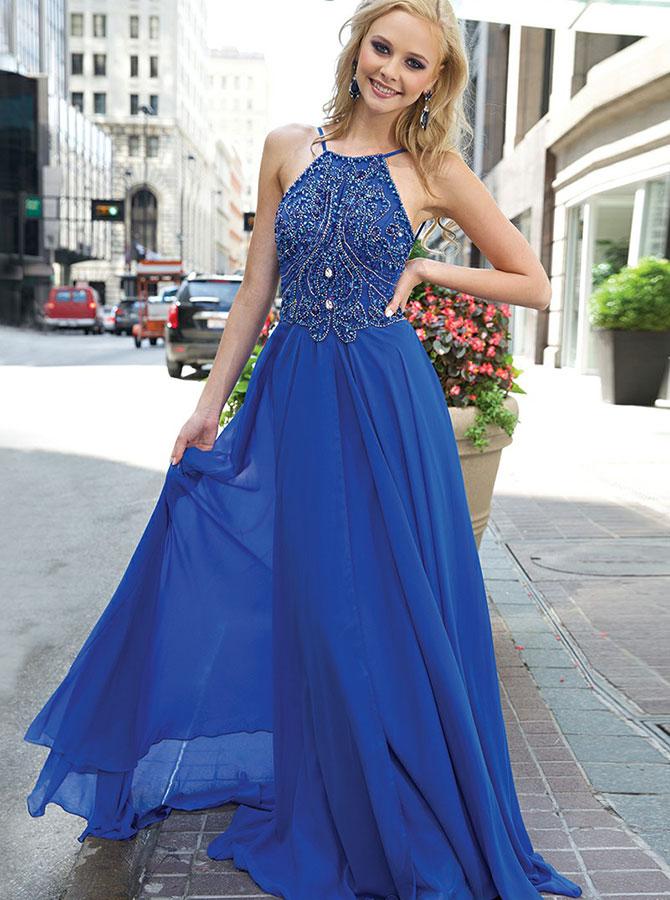 A-Line Round Neck Blue Chiffon Prom Dress with Beading