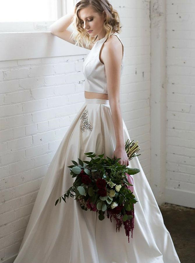 Two Piece Bateau White Satin Prom Dress with Beading Pockets фото