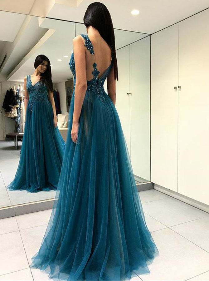 Simple-dress / A-Line V-Neck Turquoise Tulle Prom Dress with Appliques Beading