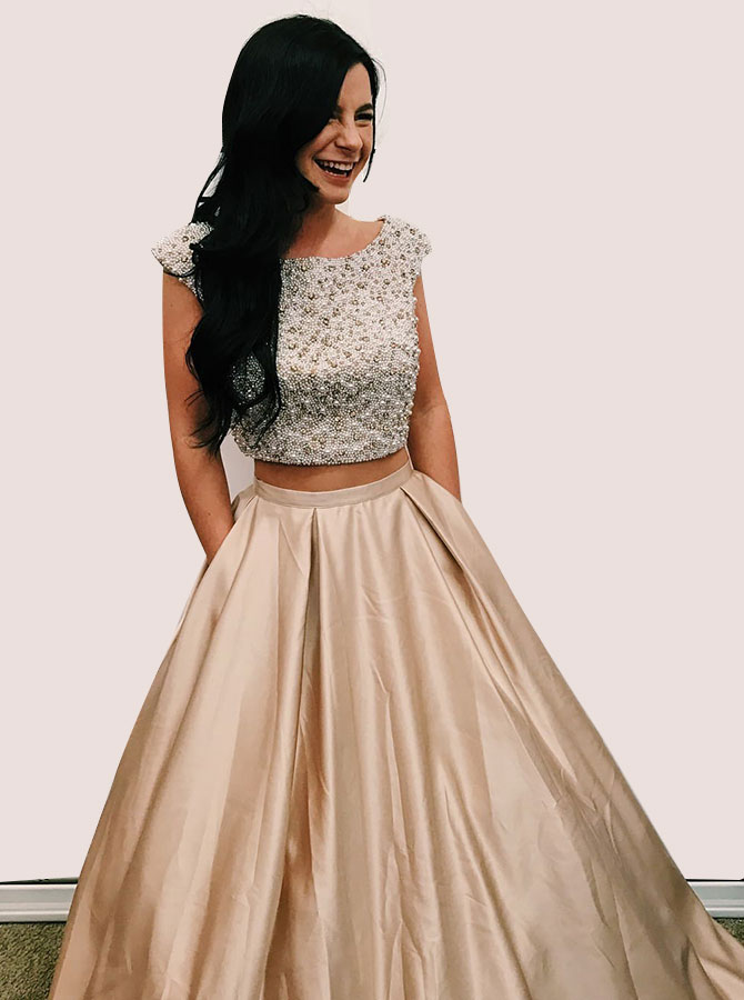 Two Piece Round Neck Open Back Satin Prom Dress with Beading Pockets фото
