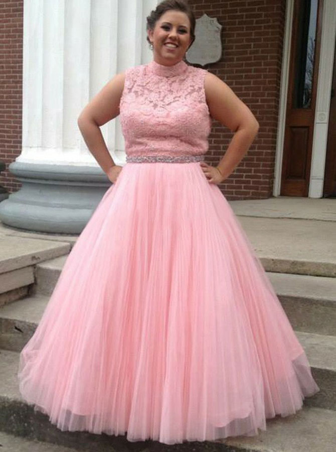 A-Line High Neck Open Back Pink Tulle Prom Dress with Lace Beading фото