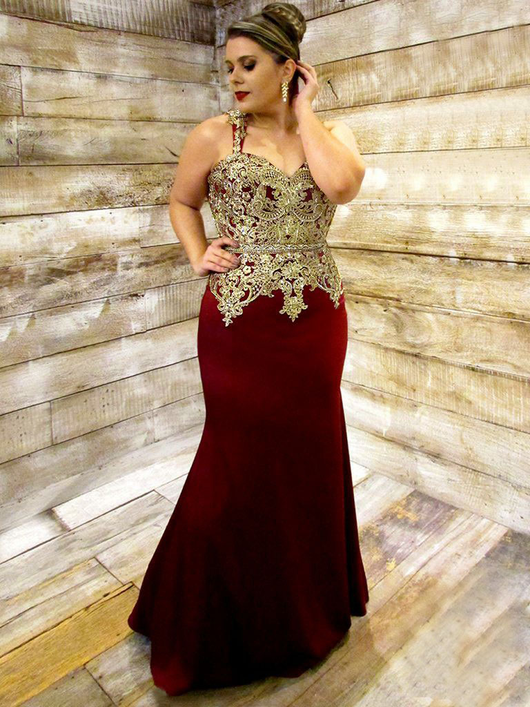 Mermaid Straps Open Back Dark Red Prom Dress with Appliques фото