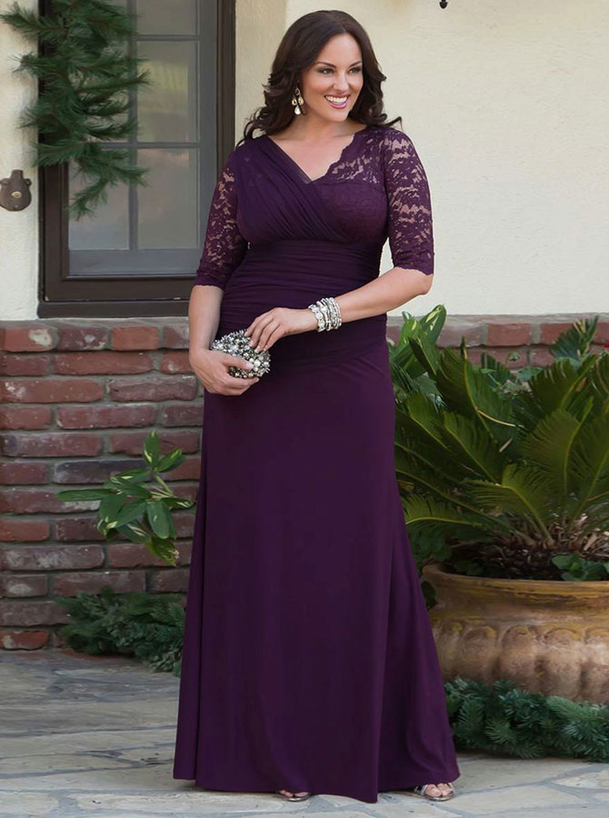 Mermaid V-Neck Grape Ruched Chiffon Prom Dress with Lace