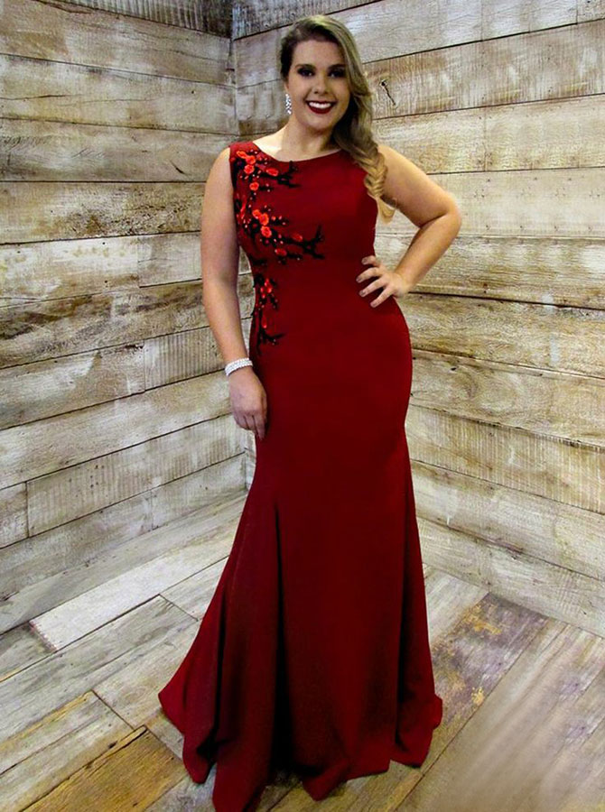 Mermaid Round Neck Dark Red Plus Size Dress with Appliques Beading