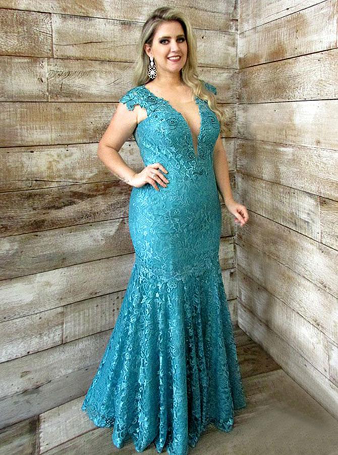 Mermaid V-Neck Low Cut Cap Sleeves Turquoise Plus Size Dress