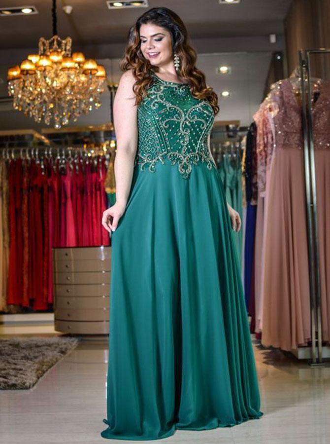 A-Line Round Neck Green Chiffon Plus Size Dress with Beading фото