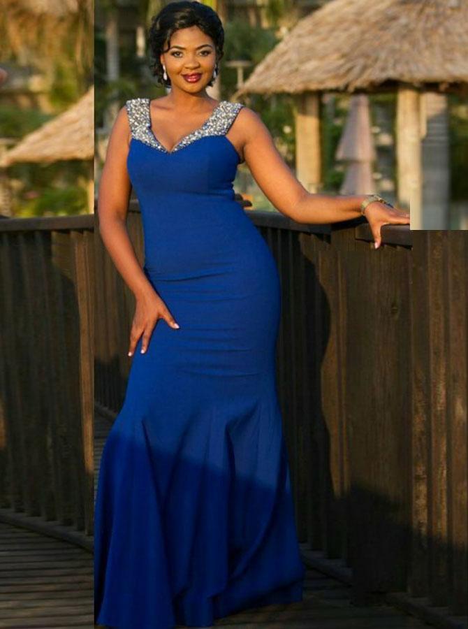 Mermaid V-Neck Royal Blue Elastic Satin Prom Dress with Beading