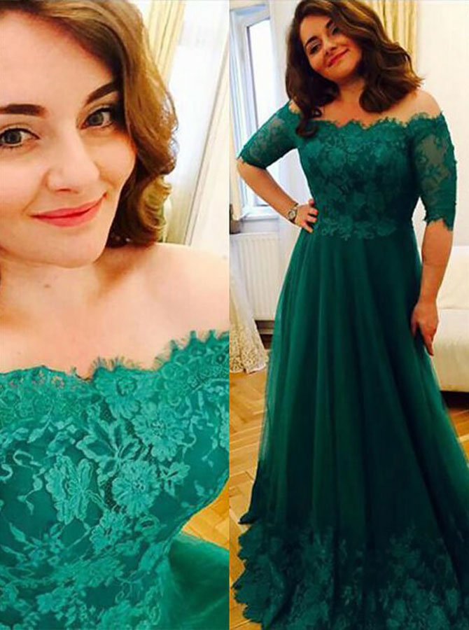 A-Line Off-the-Shoulder Green Chiffon Prom Dress with Lace Appliques фото