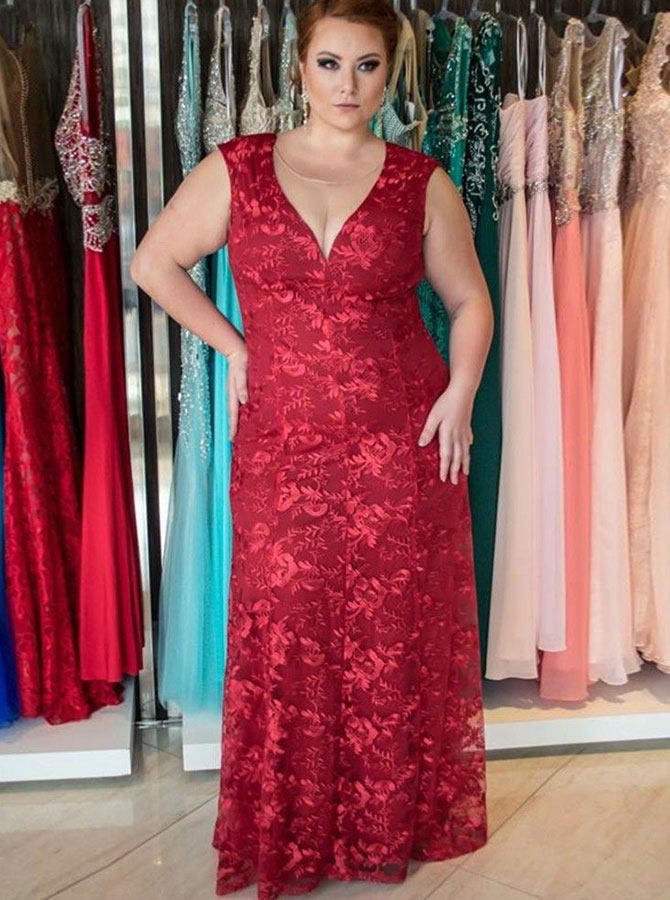 Sheath V-Neck Low Cut Floor Length Red Lace Plus Size Dress фото