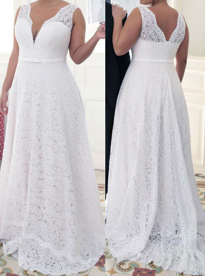 A-Line V-Neck Sweep Train White Lace Plus Size Prom Dress with Belt