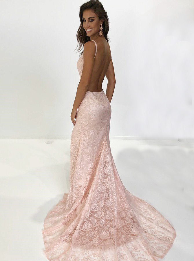 Mermaid Spaghetti Straps Backless Pink Lace Prom Dress фото