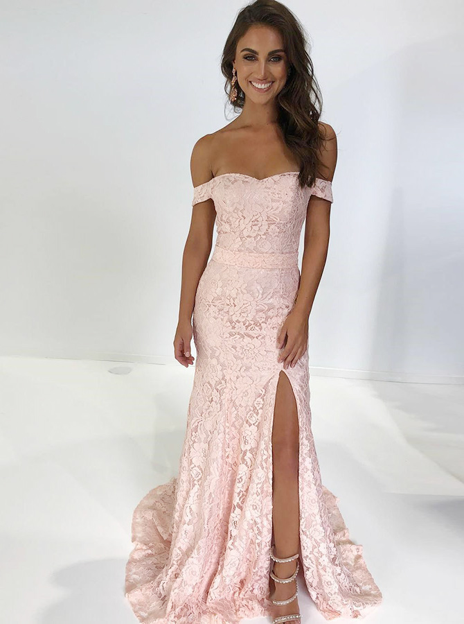Mermaid Off-the-Shoulder Pink Lace Prom Dress with Split