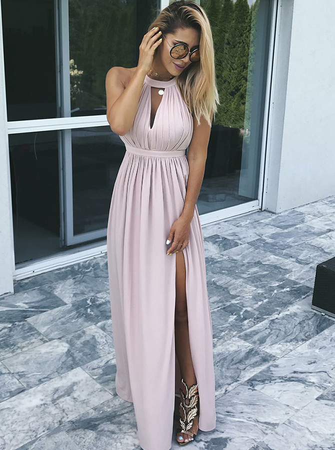 A-Line Round Neck Pleated Blush Satin Prom Dress with Split фото