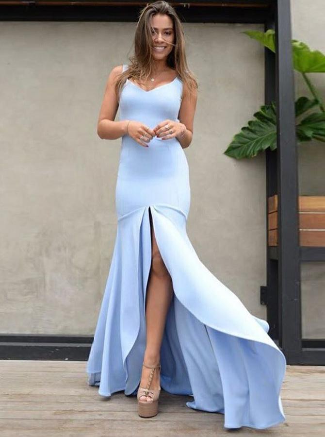 Mermaid Scoop Backless Blue Satin Prom Dress with Split фото