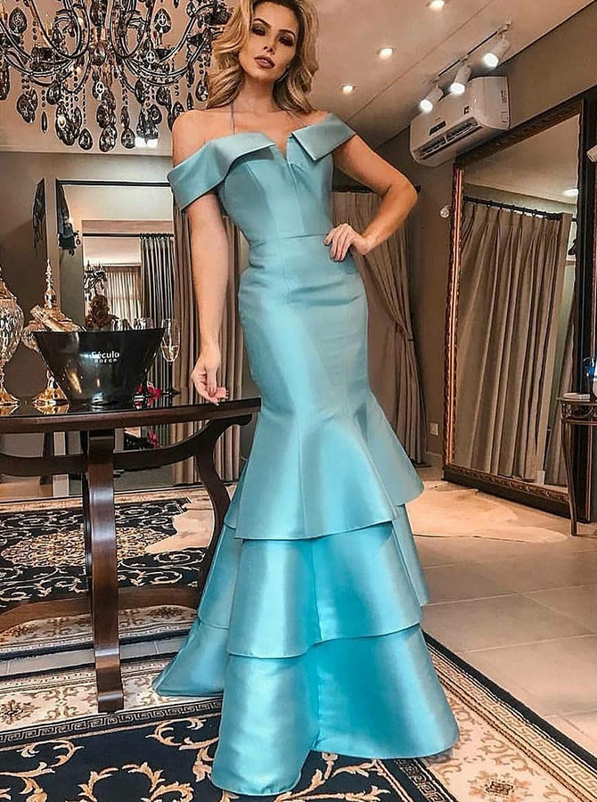 Simple-dress / Mermaid Off-the-Shoulder Tiered Blue Satin Prom Dress