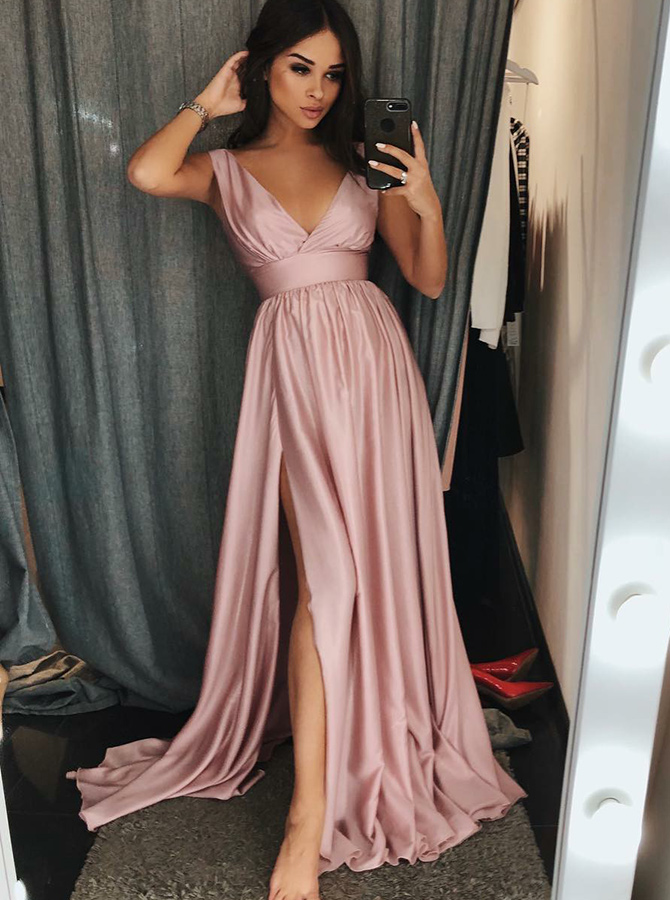 A-Line V-Neck Sleeves Pink Satin Prom Dress with Split фото