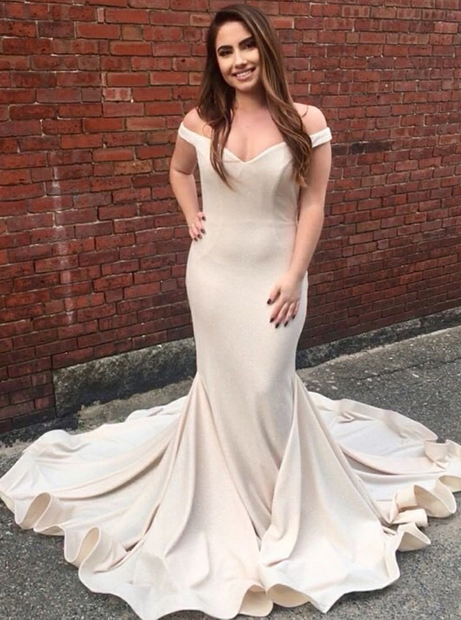 Mermaid Off-the-Shoulder Light Champagne Satin Prom Dress фото