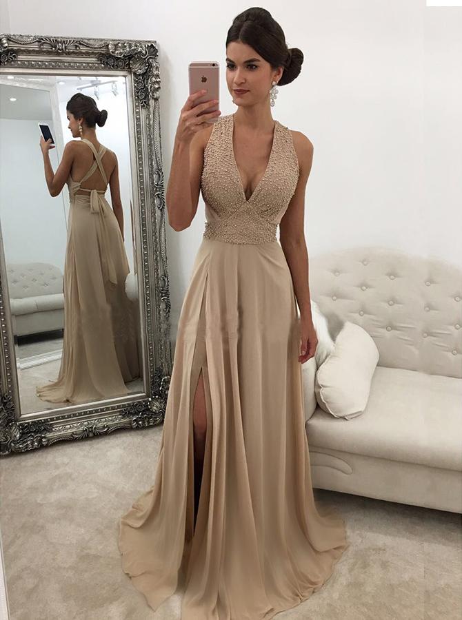 Simple-dress / Sheath Deep V-Neck Sweep Train Criss-Cross Straps Champagne Chiffon Prom Dress with Beading
