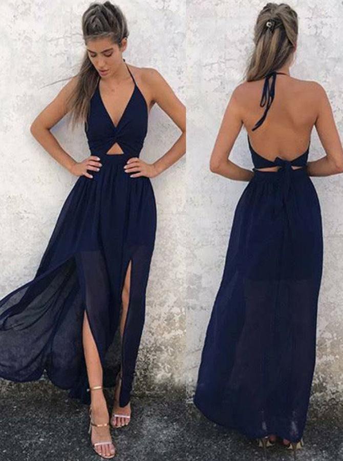 A-Line Halter Backless Navy-Blue Chiffon Prom Dress фото