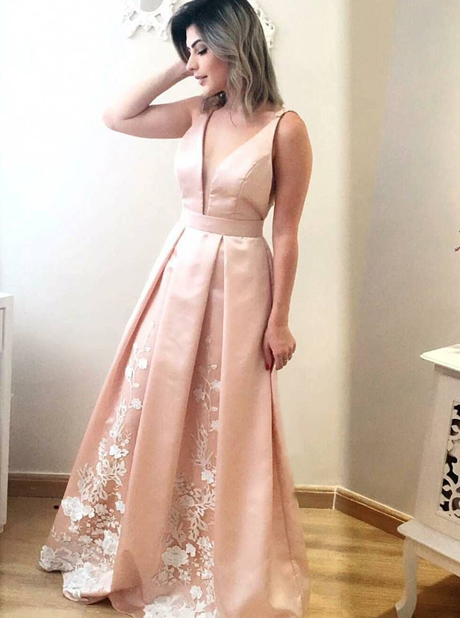 A-Line V-Neck Sweep Train Sleeveless Pink Satin Prom Dress with Appliques