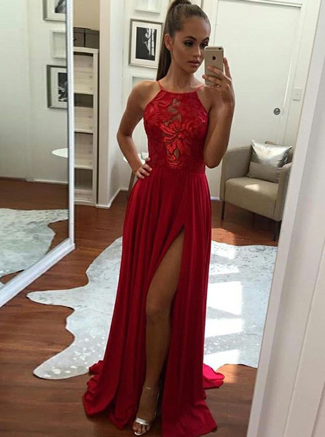A-Line Round Neck Red Elastic Satin Prom Dress with Split фото