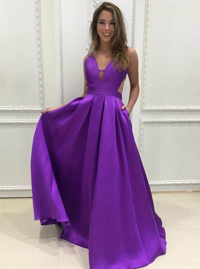 A-Line V-Neck Backless Floor-Length Purple Satin Prom Dress фото