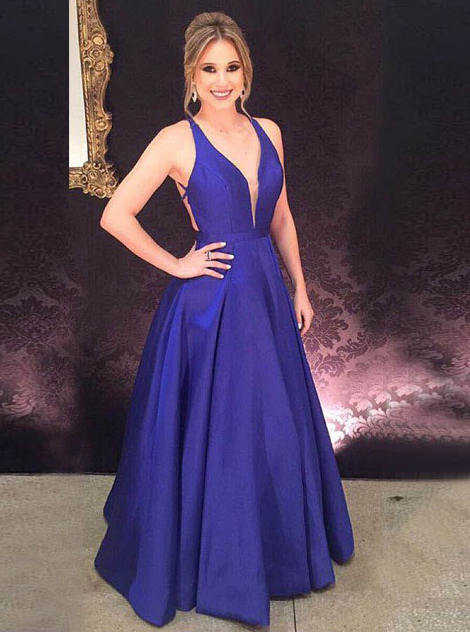 A-Line V-Neck Backless Floor-Length Royal Blue Satin Prom Dress фото